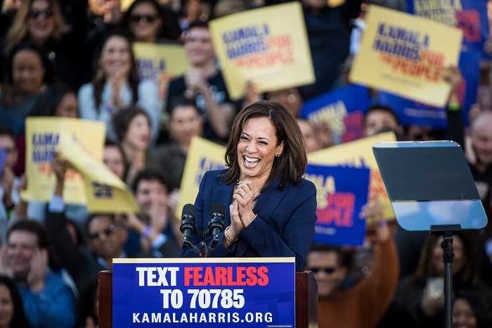 Kamala Harris at the launch of her presidential campaign in her hometown of Oakland, California, in January. Her 'out-of-the-gate' rally was impressive but she has been criticised since for being too middle-of-the-road and not having a 'core message'