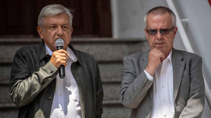 (FILES) In this file photo taken on July 23, 2018 Mexico's President-elect Andres Manuel Lopez Obrador (L) speaks during a press conference next to his appointed Finance Minister Carlos Urzua, at their party's headquarters in Mexico City. - Urzua resigned on July 9, 2019 citing discrepancies with Lopez Obrador's government. (Photo by Pedro PARDO / AFP)PEDRO PARDO/AFP/Getty Images