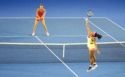 Maria Sharapova playing her toughest opponent, Serena Williams, in the final of this year's Australian Open