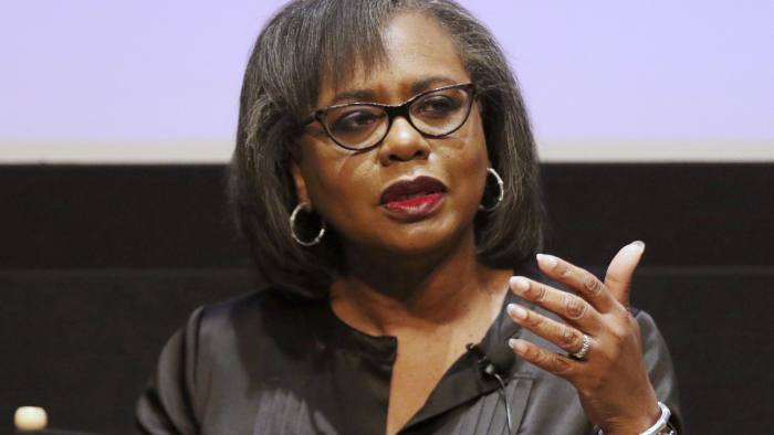 FILE - In this Dec. 8, 2017, file photo Anita Hill speaks at a discussion about sexual harassment and how to create lasting change from the scandal roiling Hollywood at United Talent Agency in Beverly Hills, Calif. Hill brought the concept of sexual harassment to national consciousness when she testified during Clarence Thomas' Supreme Court confirmation hearings. (Photo by Willy Sanjuan/Invision/AP, File)