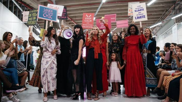 Luxury clothing rental service Panoply staged a fashion show at Galleries Lafayette. Slogans include 'renting is trending' or 'rent an unlimited dressing room with a limited budget'