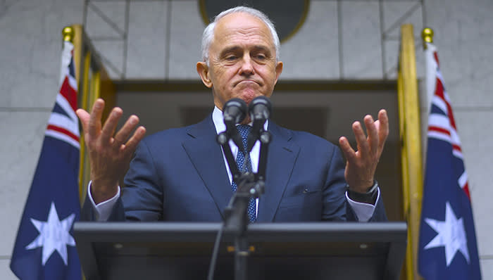 Australian Prime Minister Malcolm Turnbull reacts during a media conference at Parliament House in Canberra, Australia, August 23, 2018. AAP/Lukas Coch/via REUTERS ATTENTION EDITORS - THIS IMAGE WAS PROVIDED BY A THIRD PARTY. NO RESALES. NO ARCHIVE. AUSTRALIA OUT. NEW ZEALAND OUT.