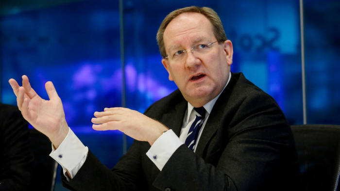 Felix Hufeld, BaFin president, gestures while speaking during an interview in London, U.K., on Thursday, Feb. 2, 2017. Fintechs shouldn't have a special regulatory regime, Hufeld, head of the German bank regulator, said during the G20 Digitising Finance conference in January. Photographer: Luke MacGregor/Bloomberg
