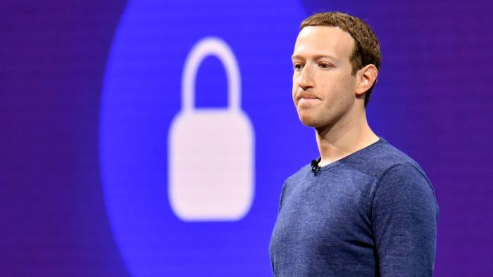 (FILES) In this file photo taken on May 1, 2018, Facebook CEO Mark Zuckerberg speaks during the annual F8 summit at the San Jose McEnery Convention Center in San Jose, California. It has turned into a brutal reality check for Facebook. The social network star -- which had weathered storms over privacy and data protection -- is now looking ahead at a cloudier financial future that threatens to end its years-long breakneck growth pace. Shares in Facebook plummeted 19 percent to $175.30 in early trade Thursday, wiping out some $100 billion -- believed to be the worst single-day evaporation of market value for any company. / AFP PHOTO / JOSH EDELSONJOSH EDELSON/AFP/Getty Images