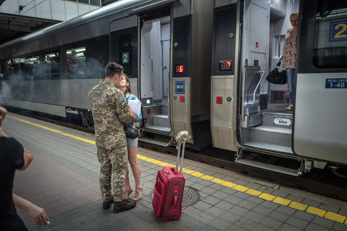Europe's forgotten war. By David Bond. The conflict in Eastern Ukraine between Russian backed separatists and Ukrainian forces has been raging for 4 years and claimed 10,000 lives yet largely forgotten in the West. A couple say goodbye on the train platform in Kiev as the train departs for the front line in the east of Ukraine.