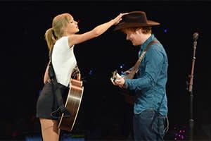 Ed Sheeran and Taylor Swift onstage, Nashville, September 2013