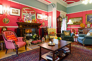 Lord Bhattacharyya's home: the sitting room or 'red room'