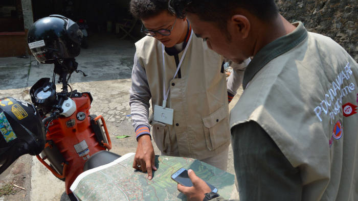 Press images from HOTSOM, or Humanitarian OpenStreetMap Team on using data to better improve emergency preparations and services.