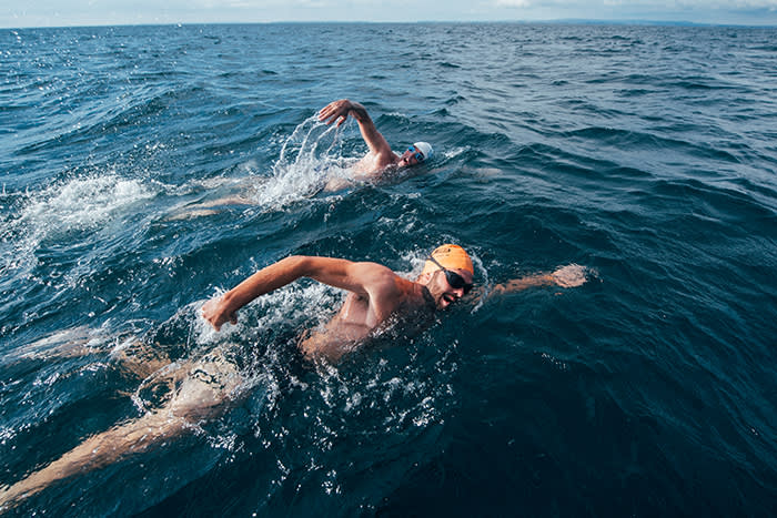 Renowned endurance swimmer and United Nation's Environment Programme (UNEP)'s Patron of the Oceans, Lewis Pugh swims near Eddystone Lighthouse, United Kingdom during The Long Swim campaign on 23 July 2018