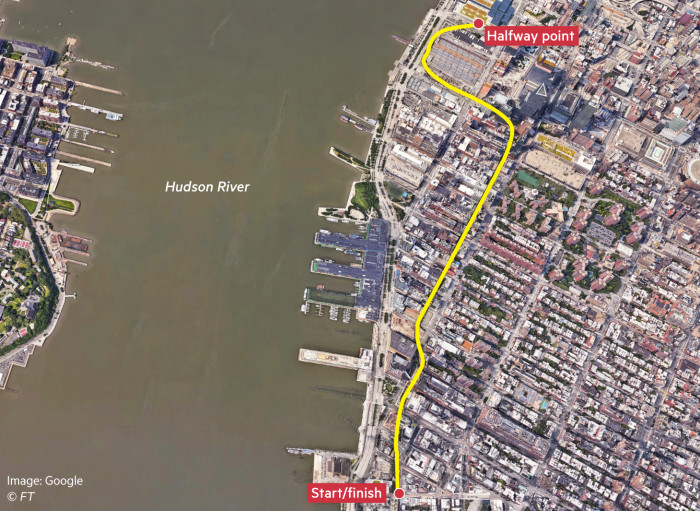 Map showing running route on High Line, New York