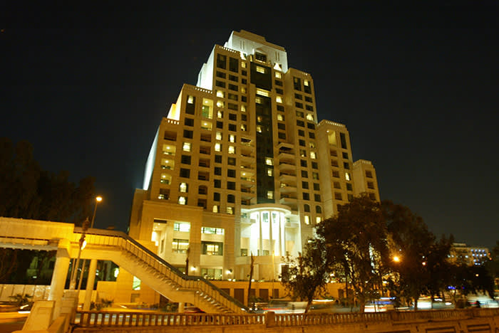 A general view shows the newly-opened Four Seasons hotel in Damascus, 22 March 2006. Syrian President Bashar al-Assad (R) and Saudi Prince al-Waleed bin Talal bin Abdulaziz attended the inauguration ceremony today. Prince al-Walid holds 65% of the Syrian-Saudi Company for Tourism and Investment which owns the Four Seasons, Syria's biggest hotel. AFP PHOTO/LOUAI BESHARA (Photo credit should read LOUAI BESHARA/AFP/Getty Images)