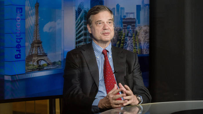 Lorenzo Bini Smaghi, chairman of Societe Generale SA, speaks during a Bloomberg Television interview in Paris, France, on Wednesday, June 20, 2018. It's up to European regulators to remove the obstacles to cross-border deals that would create banks capable of competing with Wall Street's biggest institutions, Smaghi said. Photographer: Marlene Awaad/Bloomberg