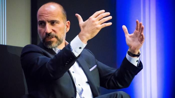 DARA KHOSROWSHAHI, CEO of UBER, in conversation with John Thornhill at todays FT125 event at Clothworkers Hall, London on 22nd October 2018