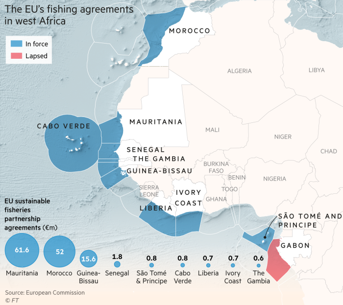 Map showing the EU's fishing agreements in west Africa, and monies paid to the countries. They range from €61.6m to Mauritania to €0.6m to The Gambia