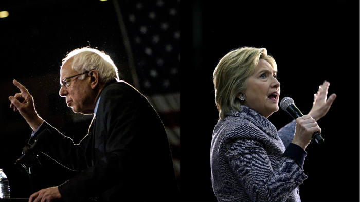 Photo collage showing Bernie Sanders (left) and Hillary Clinton