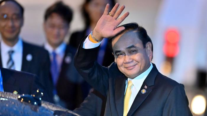 Thailand's Prime Minister Prayut Chan-O-Cha arrives at Kansai airport in Izumisano city, Osaka prefecture, on June 27, 2019 ahead of the G20 Osaka Summit. (Photo by CHARLY TRIBALLEAU / AFP) (Photo credit should read CHARLY TRIBALLEAU/AFP/Getty Images)