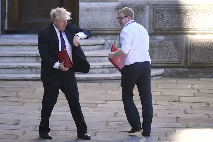 Foreign Secretary Boris Johnson leaves the Foreign Office on his way to Downing Street, London, for a cabinet meeting.