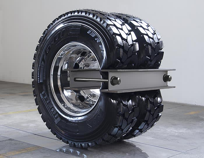 ARCANGELO SASSOLINO b. 1967 Cassius, 2018 Truck tires and stainless steel 112 x 107 x 77 cm (44 x 42 1/8 x 30 1/4 in.) Courtesy of the artist and Pearl Lam Galleries