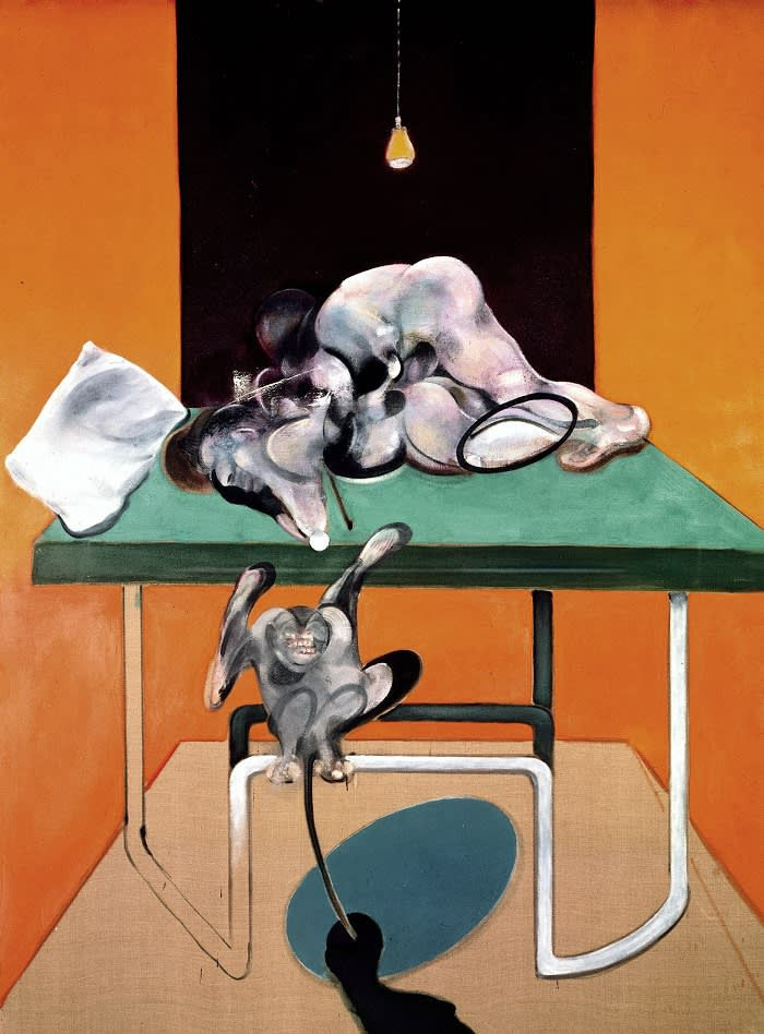 Francis Bacon Two Figures with a Monkey, 1973 Oil on canvas198 x 147.5 cm © The Estate of Francis Bacon. All rights reserved, DACS/Artimage 2019 Photo: Prudence Cuming Associates Ltd Courtesy Gagosian