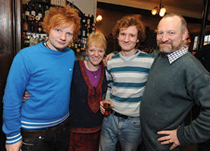 Ed Sheeran at a pub in Suffolk with his parents and brother