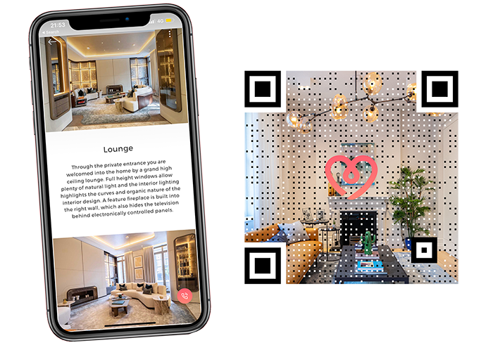 The Vyomm property portal mobile app and QR codes