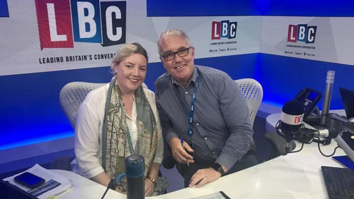 Claer Barrett and Eddie Mair on LBC Radio photo credit - Stewart Easton