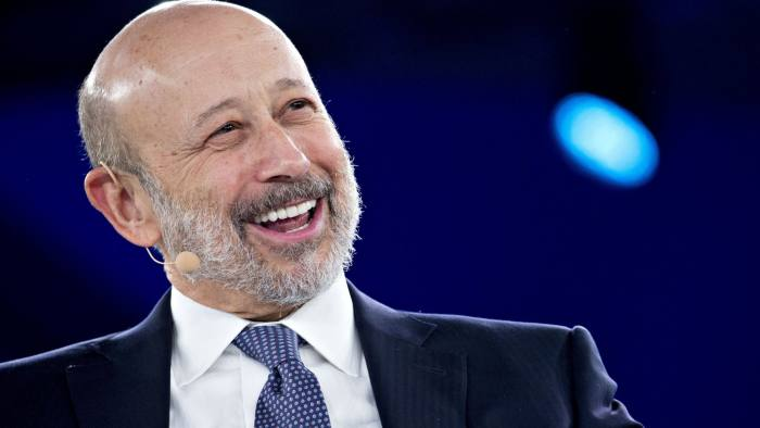 Lloyd Blankfein, chairman and chief executive officer of Goldman Sachs Group Inc., smiles during a discussion at the Goldman Sachs 10,000 Small Businesses Summit in Washington, D.C., U.S., on Tuesday, Feb. 13, 2018. Goldman's 10,000 Small Businesses is an investment that brings economic opportunity and assists entrepreneurs to create jobs by providing better access to education, capital and business support services. Photographer: Andrew Harrer/Bloomberg