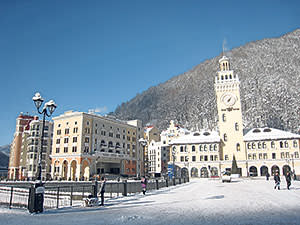 The central piazza in Rosa Khutor