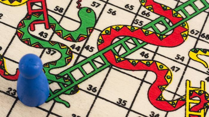 F7543J Close-up of a travelling 'Snakes and Ladders' board game. Metaphor for 'career ladder', or getting on the property ladder  housing ladder.