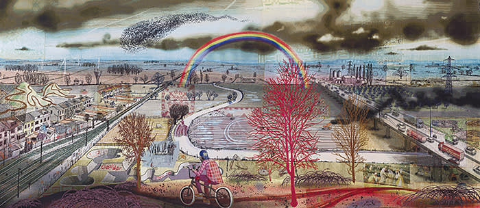 Grayson Perry, Battle of Britain, 2017, tapestry 118 1/10 × 275 3/5 in 300 × 700 cm Copyright: Grayson Perry and Paragon | Contemporary Editions Ltd. Photographer: Oak