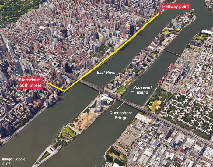 Map showing running route by East River, New York