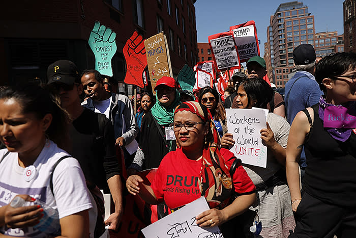 Protesters calling for more workers' rights at a May Day rally in New York in 2018. Just under half of Americans aged under 39 have a positive view of socialism, according to Gallup
