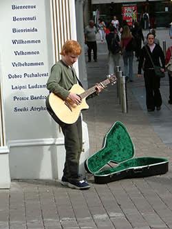 Ed Sheeran busking in Ireland, aged 14, 2005
