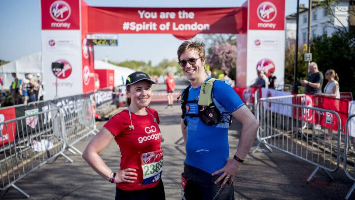 Laura Noonan and Patrick McGee at the starting line of London Marathon in east London on April 22, 2018.
