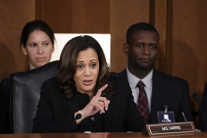 Harris questioning Brett Kavanaugh during his Supreme Court nomination hearing in September 2018. Harris's skilful performance on the Senate intelligence and judiciary committees is one of the reasons so many Democratic consultants saw her as a strong presidential contender