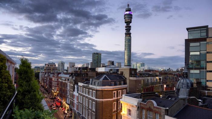 EB5GW1 BT Telecom Tower and Gt Titchfield Street London W1 UK at dusk