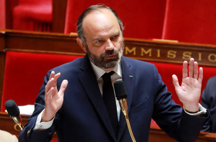 MAXPPP OUT Mandatory Credit: Photo by LUDOVIC MARIN/POOL/EPA-EFE/Shutterstock (10628288f) French Prime Minister Edouard Philippe gestures as he speaks during a session of questions to the government at the National Assembly, one day after the plan to exit from the lockdown situation has been voted in Paris, France, 29 April 2020, on the 44th day of a lockdown aimed at curbing the spread of the COVID-19 pandemic, caused by the SARS-CoV-2 coronavirus. French Government's question time at the Parliament, Paris, France - 29 Apr 2020