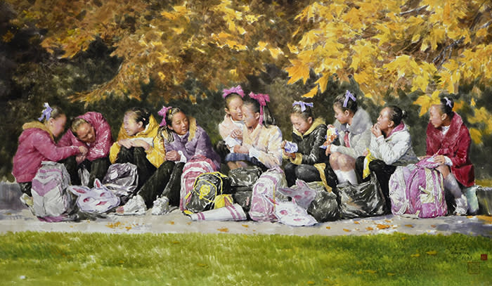 Choe Yu Song, On the Way Home, 2016, Chosonhwa, 112x192cm North Korean Art: Paradoxical Realism Curated by B.G. Muhn Venue: Asia Culture Center ACC Creation — Gallery 6