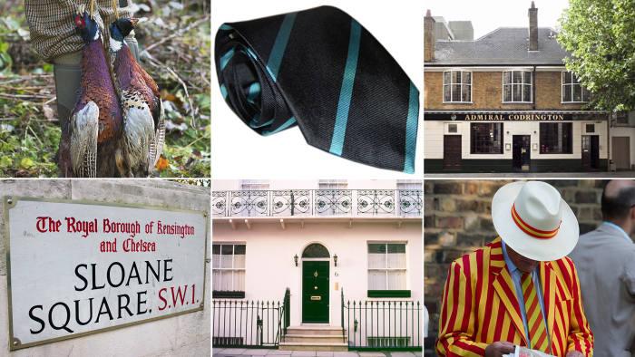 Clockwise, from top left: dead pheasants; necktie; Admiral Codrington; Marylebone Cricket Club member; the facade of terraced housing Belgravia; Sloane Square street sign