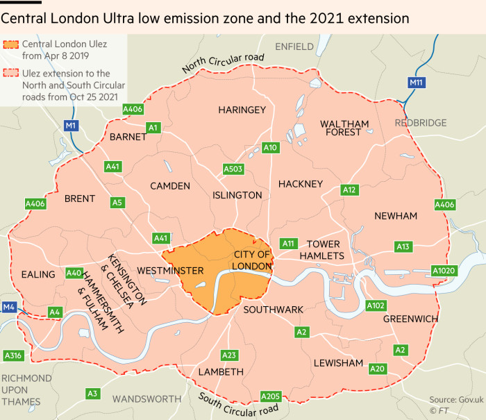 Map showing the central London Ultra low emission zone and the 2021 extension