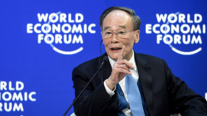 Chinese Vice President Wang Qishan attends a special address during the World Economic Forum (WEF) annual meeting, on January 23, 2019 in Davos, eastern Switzerland. (Photo by Fabrice COFFRINI / AFP)FABRICE COFFRINI/AFP/Getty Images
