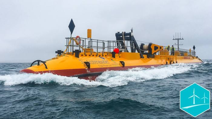 Scotrenewables' prototype tidal energy converter - the SR2000 was used for the conversion of tidal energy to hydrogen gas