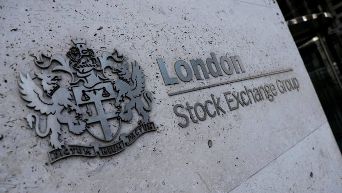 FILE PHOTO: Signage is seen outside the entrance of the London Stock Exchange in London, Britain. Aug 23, 2018. REUTERS/Peter Nicholls/File Photo