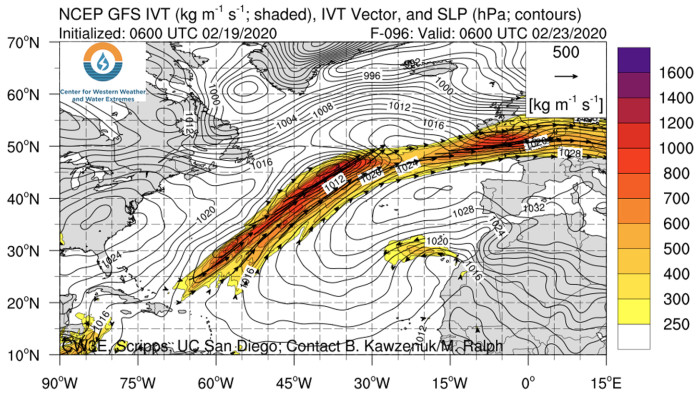 """Modelling based on the work of Professor Martin Ralph at the Scripps Institution of Oceanography in San Diego shows the """"atmospheric river"""" due to reach the UK on Sunday 23 February (the darker the colour the higher the water content)"""