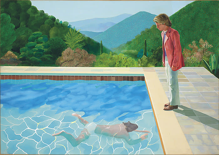 DAVID HOCKNEY (B. 1937), Portrait of an Artist (Pool with Two Figures), acrylic on canvas, 84 x 119 3/4 in., Painted in 1972 CHRISTIES IMAGES