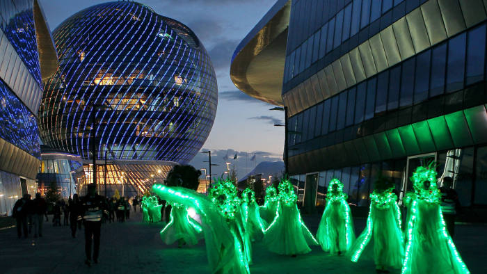 A picture taken on June 10, 2017 shows dancers as they perform at the EXPO-2017 International exhibition in Astana. / AFP PHOTO / Aleksey FILIPPOV (Photo credit should read ALEKSEY FILIPPOV/AFP/Getty Images)