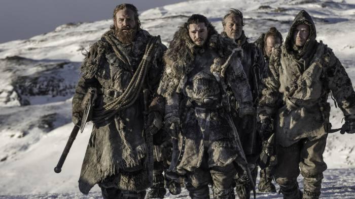 HBO's Game of Thrones Series 7 Ep 6 - Kristofer Hivju as Tormund, Kit Harington as Jon Snow,Iain Glen as Jorah Mormont, Joe Dempsie as Gendry