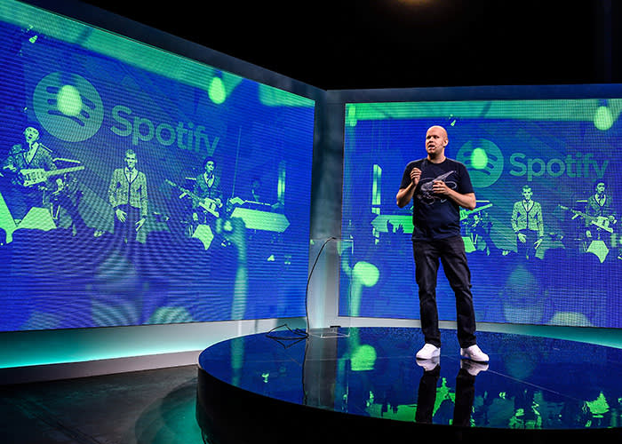 Daniel Ek, CEO of Spotify, speaks to reporters at a news conference on May 20, 2015 in New York. Streaming leader Spotify on Wednesday announced an entry into video and original content, hoping to expand its reach beyond music. Spotify, by far the largest company in the booming streaming industry, said it was updating its platform to support videos and would offer news and other non-music content provided by major media companies. AFP PHOTO/DON EMMERT (Photo credit should read DON EMMERT/AFP/Getty Images)
