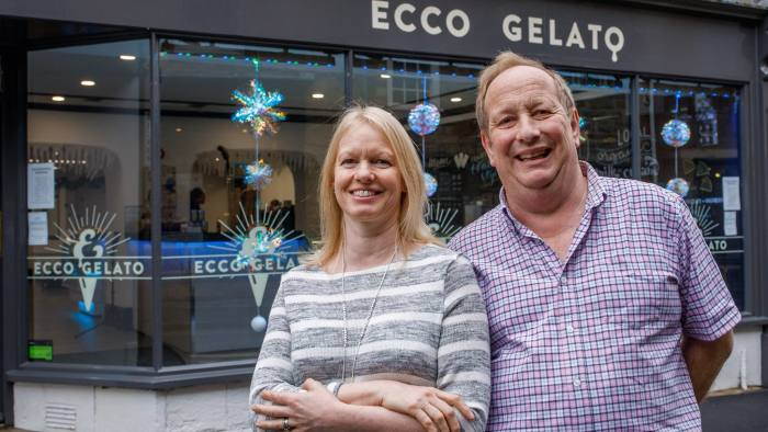 21 December 2016. Andrew and Philippa Tarling. This middle-aged couple set up a 'gelato cafe' called Ecco Gelato in the centre of Sherborne in Dorset with pension funds and it has been such a success that they are now planning to expand the business. Photo: Neil Turner