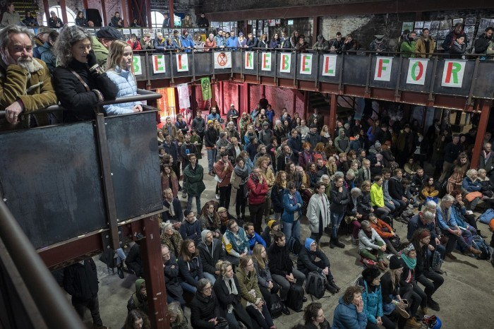 Last month's Extinction Rebellion 'spring uprising' rally in Bristol: 'half-party, half dress rehearsal for the planned London shut-down'